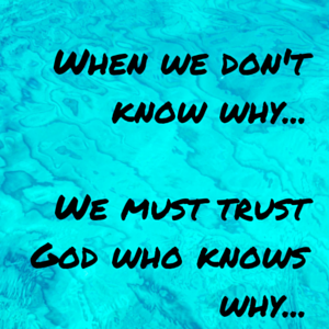 When we don't know why… We must trust God who knows why…